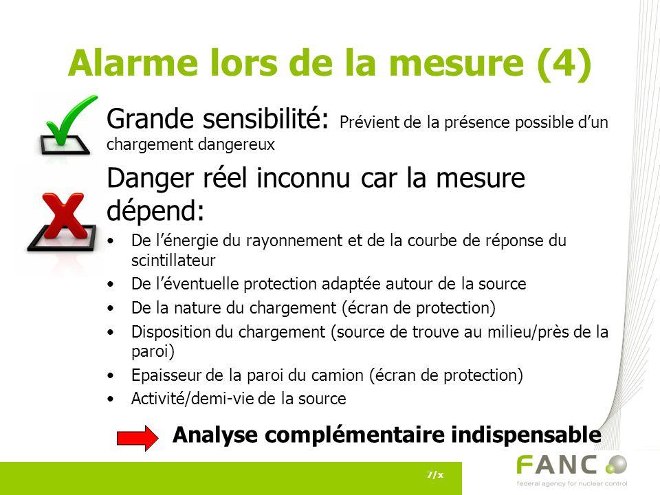 Grande sensibilité: Prévient de la présence possible dun chargement dangereux Danger réel inconnu car la mesure dépend: De lénergie du rayonnement et de la courbe de réponse du scintillateur De léventuelle protection adaptée autour de la source De la nature du chargement (écran de protection) Disposition du chargement (source de trouve au milieu/près de la paroi) Epaisseur de la paroi du camion (écran de protection) Activité/demi-vie de la source Analyse complémentaire indispensable 7/x Alarme lors de la mesure (4)