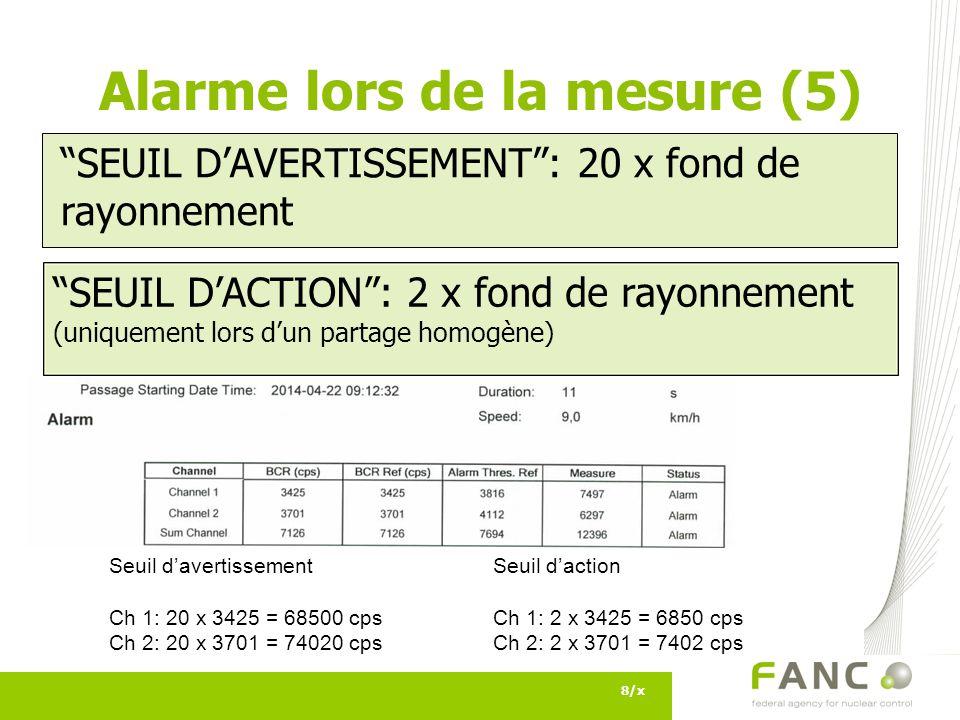 9/x Alarme lors de la mesure (6) LOCALISEE vs.HOMOGENE Localisée: .