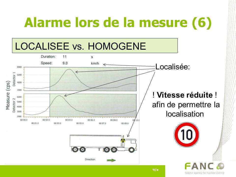 9/x Alarme lors de la mesure (6) LOCALISEE vs. HOMOGENE Localisée: ! Vitesse réduite ! afin de permettre la localisation