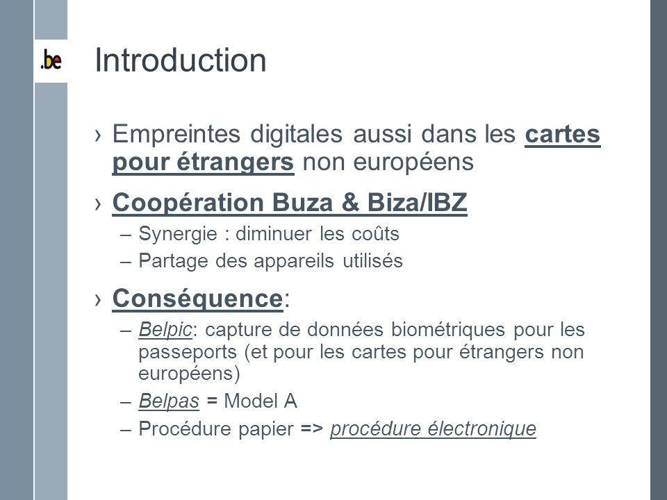 Introduction Empreintes digitales aussi dans les cartes pour étrangers non européens Coopération Buza & Biza/IBZ –Synergie : diminuer les coûts –Parta