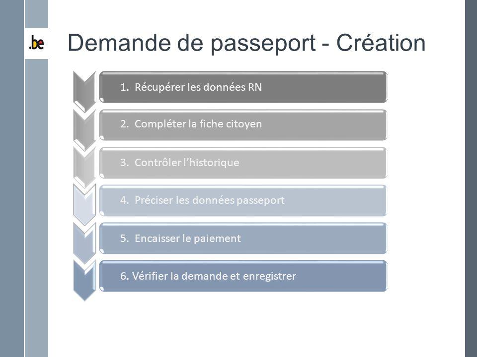 Demande de passeport - Création 1. Récupérer les données RN 2. Compléter la fiche citoyen 3. Contrôler lhistorique 4. Préciser les données passeport 5