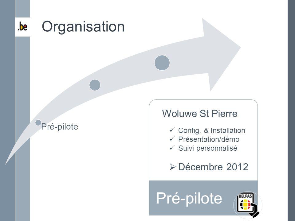 Pré-pilote Déploiement Total Organisation Woluwe St Pierre Config. & Installation Présentation/démo Suivi personnalisé Décembre 2012 Pré-pilote