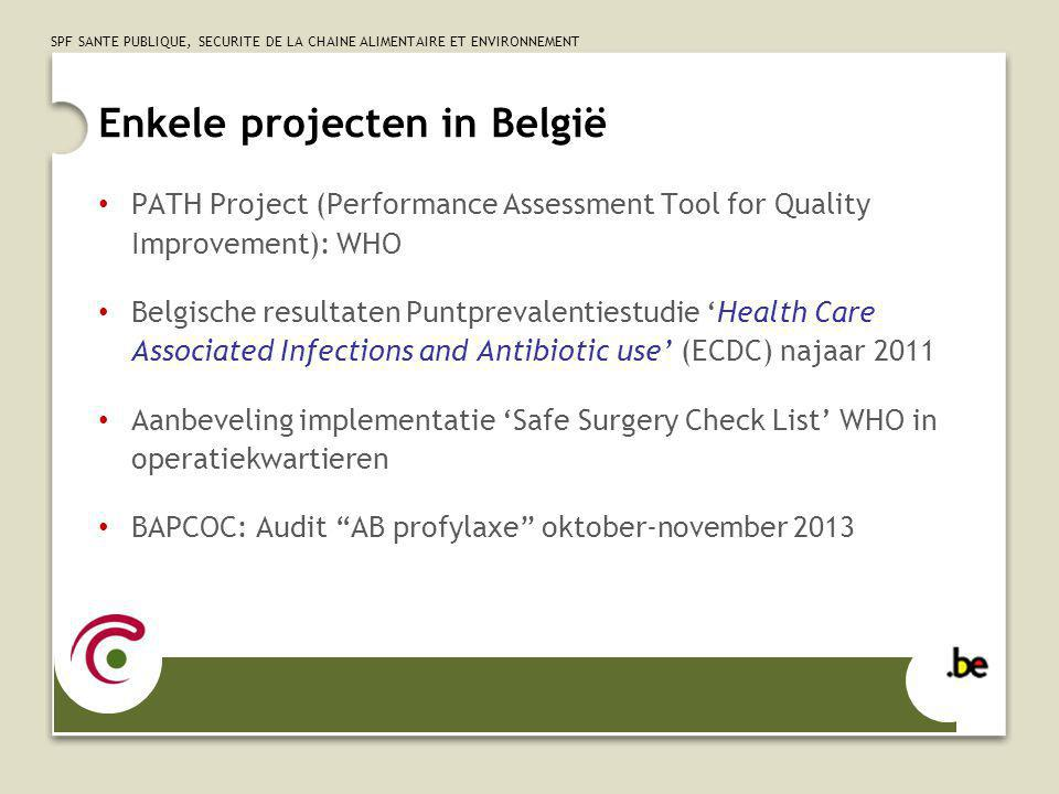 SPF SANTE PUBLIQUE, SECURITE DE LA CHAINE ALIMENTAIRE ET ENVIRONNEMENT PATH Project (Performance Assessment Tool for Quality Improvement): WHO Belgische resultaten Puntprevalentiestudie Health Care Associated Infections and Antibiotic use (ECDC) najaar 2011 Aanbeveling implementatie Safe Surgery Check List WHO in operatiekwartieren BAPCOC: Audit AB profylaxe oktober-november 2013 Enkele projecten in België