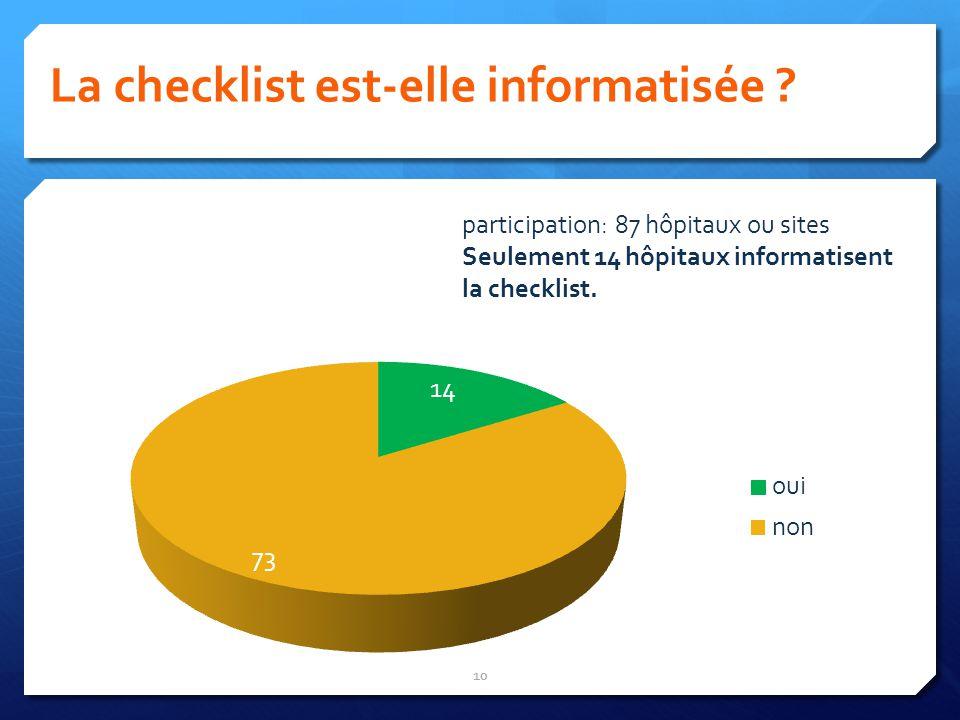 La checklist est-elle informatisée ? 10 participation: 87 hôpitaux ou sites Seulement 14 hôpitaux informatisent la checklist.
