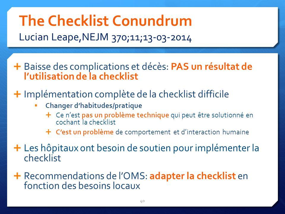 The Checklist Conundrum Lucian Leape,NEJM 370;11;13-03-2014 Baisse des complications et décès: PAS un résultat de lutilisation de la checklist Impléme