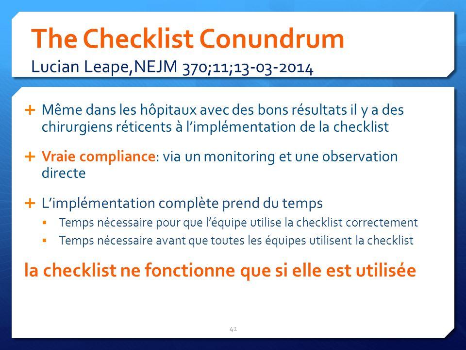 The Checklist Conundrum Lucian Leape,NEJM 370;11;13-03-2014 Même dans les hôpitaux avec des bons résultats il y a des chirurgiens réticents à limpléme