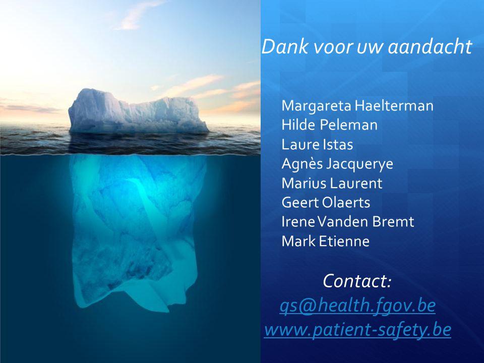 Margareta Haelterman Hilde Peleman Laure Istas Agnès Jacquerye Marius Laurent Geert Olaerts Irene Vanden Bremt Mark Etienne Dank voor uw aandacht Contact: qs@health.fgov.be www.patient-safety.be