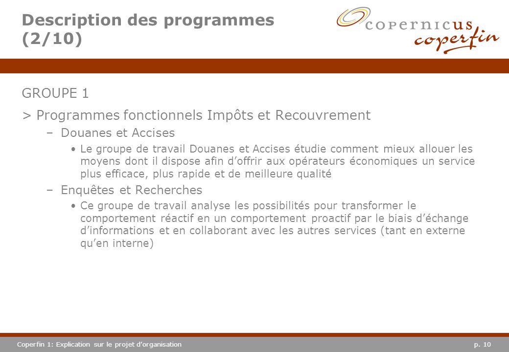 p. 10Coperfin 1: Explication sur le projet dorganisation Description des programmes (2/10) GROUPE 1 >Programmes fonctionnels Impôts et Recouvrement –D