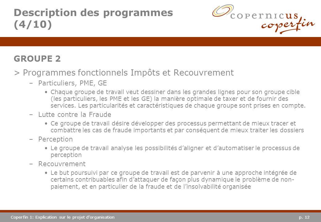 p. 12Coperfin 1: Explication sur le projet dorganisation Description des programmes (4/10) GROUPE 2 >Programmes fonctionnels Impôts et Recouvrement –P