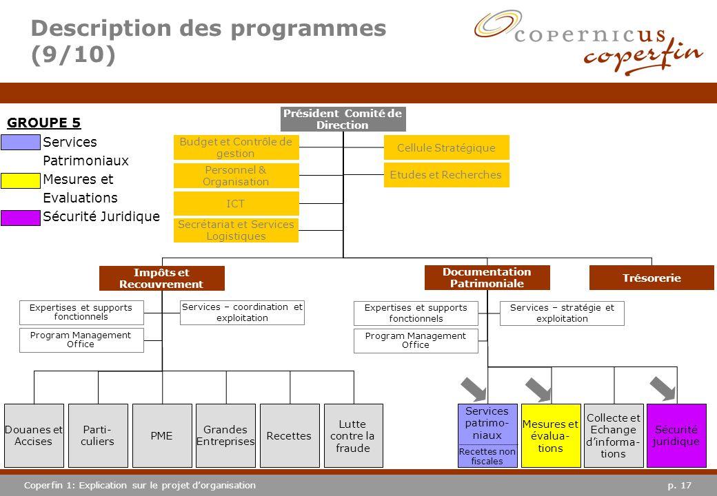 p. 17Coperfin 1: Explication sur le projet dorganisation Description des programmes (9/10) Services Patrimoniaux Mesures et Evaluations Sécurité Jurid