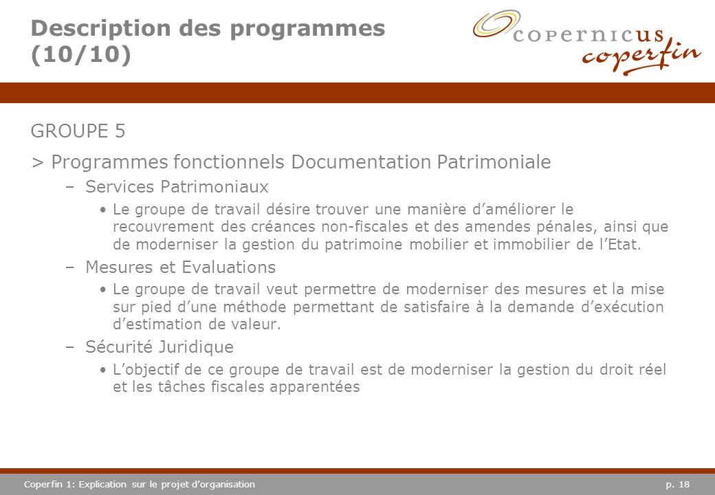 p. 18Coperfin 1: Explication sur le projet dorganisation Description des programmes (10/10) GROUPE 5 >Programmes fonctionnels Documentation Patrimonia