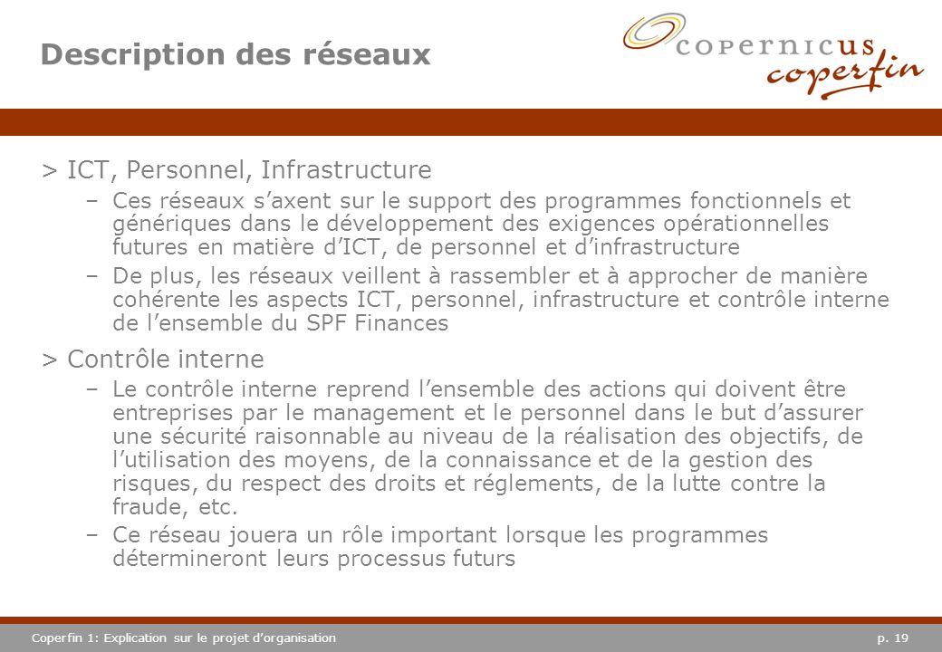 p. 19Coperfin 1: Explication sur le projet dorganisation Description des réseaux >ICT, Personnel, Infrastructure –Ces réseaux saxent sur le support de