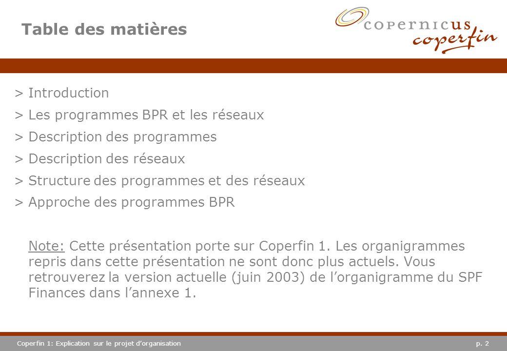 p. 2Coperfin 1: Explication sur le projet dorganisation Table des matières >Introduction >Les programmes BPR et les réseaux >Description des programme