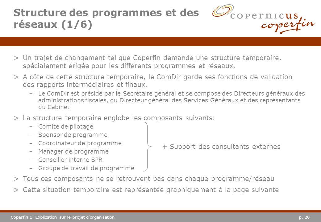 p. 20Coperfin 1: Explication sur le projet dorganisation >Un trajet de changement tel que Coperfin demande une structure temporaire, spécialement érig