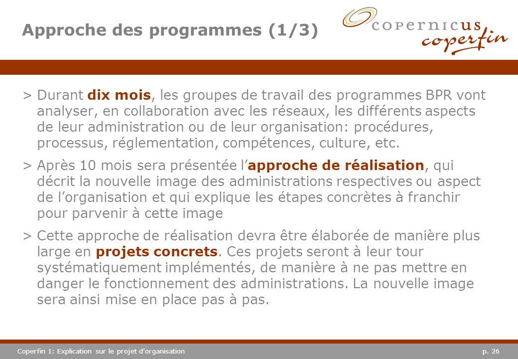 p. 26Coperfin 1: Explication sur le projet dorganisation Approche des programmes (1/3) >Durant dix mois, les groupes de travail des programmes BPR von