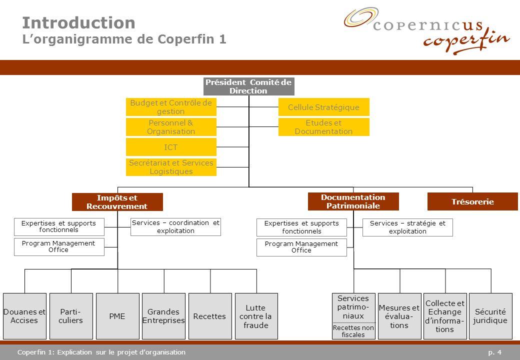 p. 4Coperfin 1: Explication sur le projet dorganisation Introduction Lorganigramme de Coperfin 1 Douanes et Accises Services patrimo- niaux Recettes n