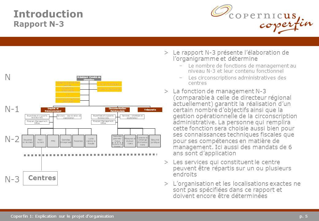 p. 5Coperfin 1: Explication sur le projet dorganisation Introduction Rapport N-3 >Le rapport N-3 présente lélaboration de lorganigramme et détermine –