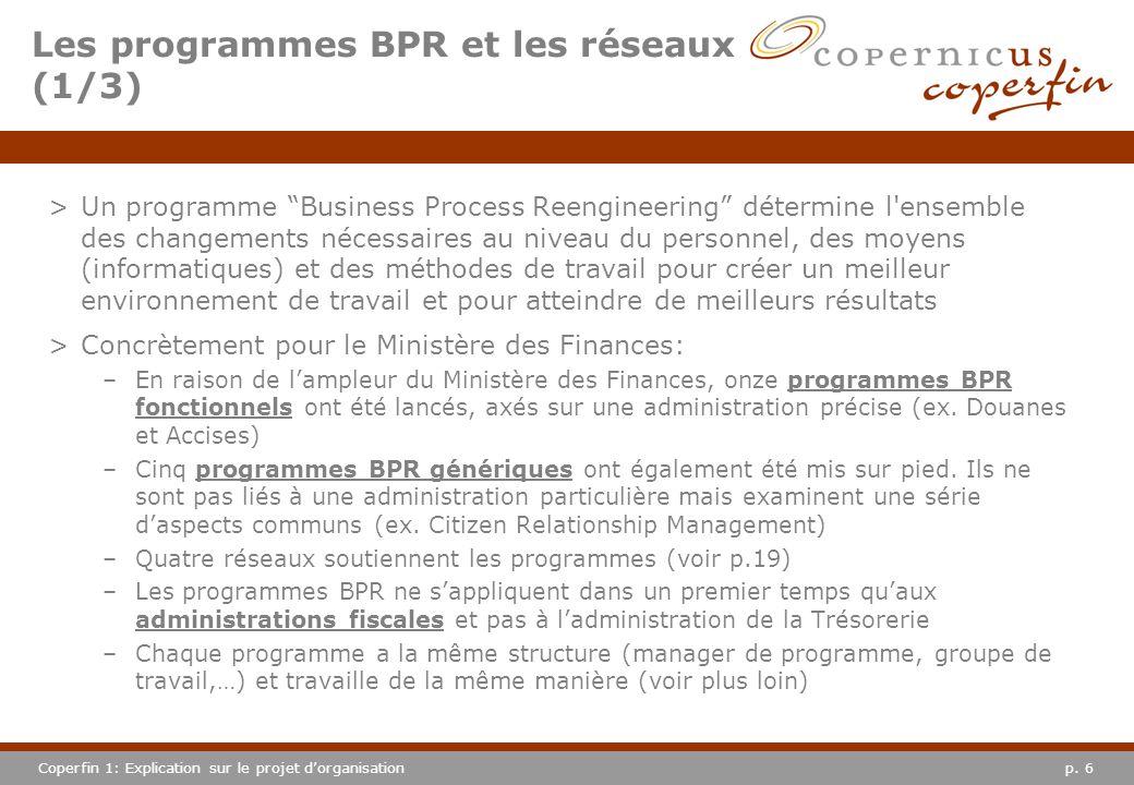 p. 6Coperfin 1: Explication sur le projet dorganisation >Un programme Business Process Reengineering détermine l'ensemble des changements nécessaires
