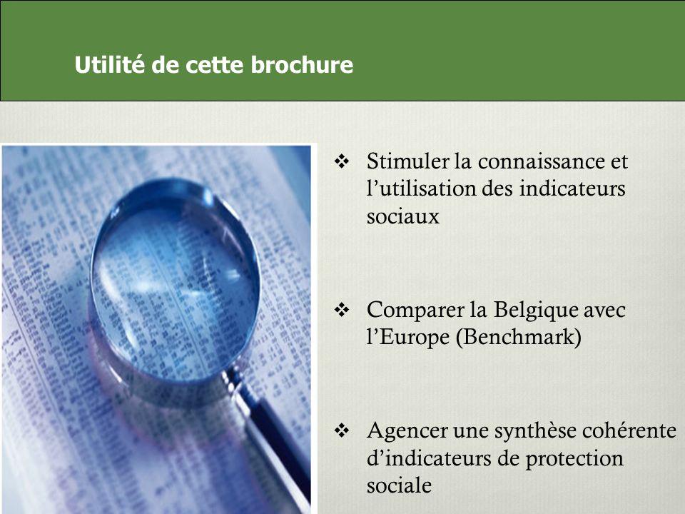 Utilité de cette brochure Stimuler la connaissance et lutilisation des indicateurs sociaux Comparer la Belgique avec lEurope (Benchmark) Agencer une synthèse cohérente dindicateurs de protection sociale Utilité de cette brochure