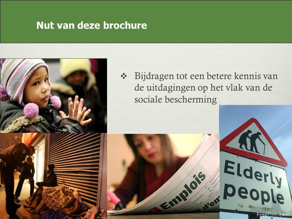 Nut van deze brochure Bijdragen tot een betere kennis van de uitdagingen op het vlak van de sociale bescherming Nut van deze brochure
