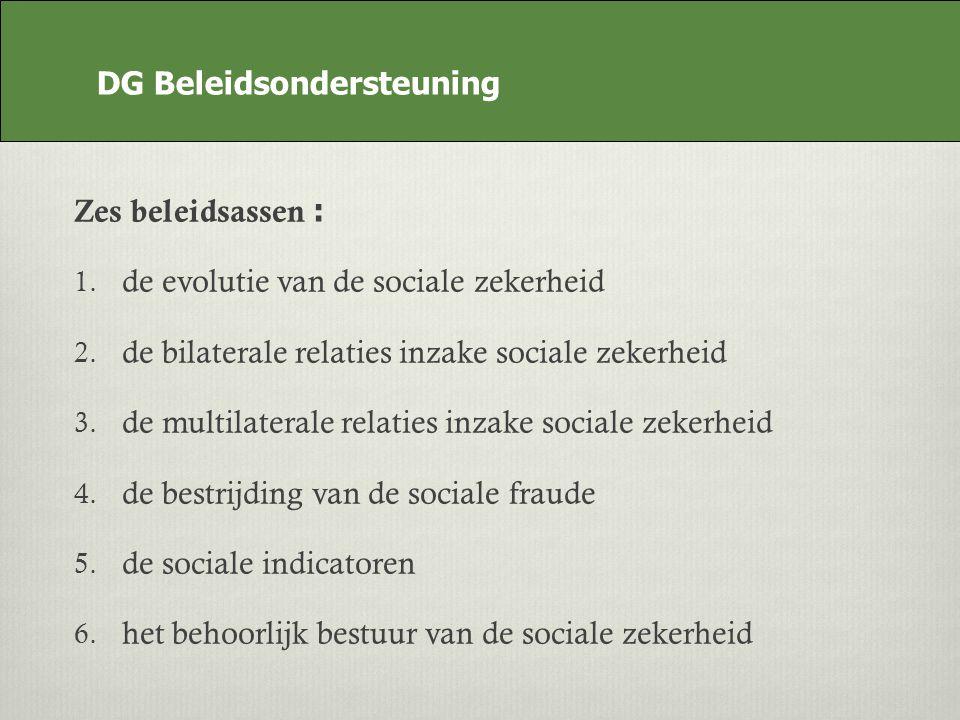 DG Beleidsondersteuning Zes beleidsassen : 1. de evolutie van de sociale zekerheid 2.