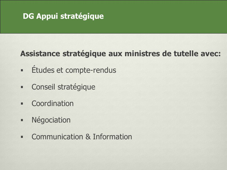 DG Appui stratégique Assistance stratégique aux ministres de tutelle avec: Études et compte-rendus Conseil stratégique Coordination Négociation Communication & Information DG Appui stratégique