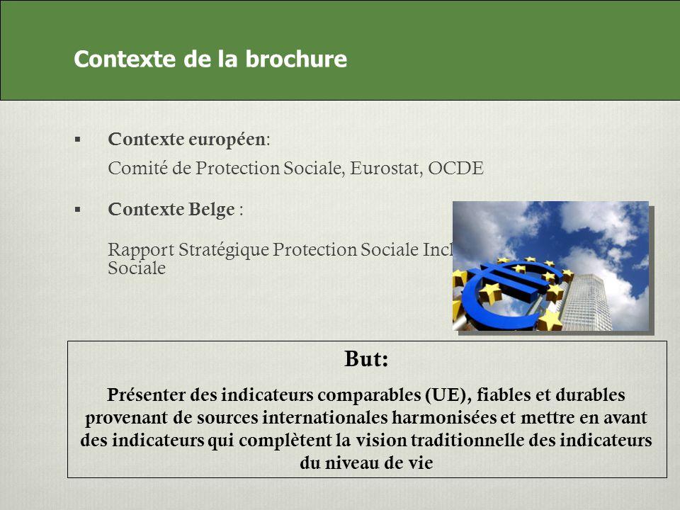 Contexte de la brochure Contexte européen : Comité de Protection Sociale, Eurostat, OCDE Contexte Belge : Rapport Stratégique Protection Sociale Inclusion Sociale But: Présenter des indicateurs comparables (UE), fiables et durables provenant de sources internationales harmonisées et mettre en avant des indicateurs qui complètent la vision traditionnelle des indicateurs du niveau de vie Contexte de la brochure