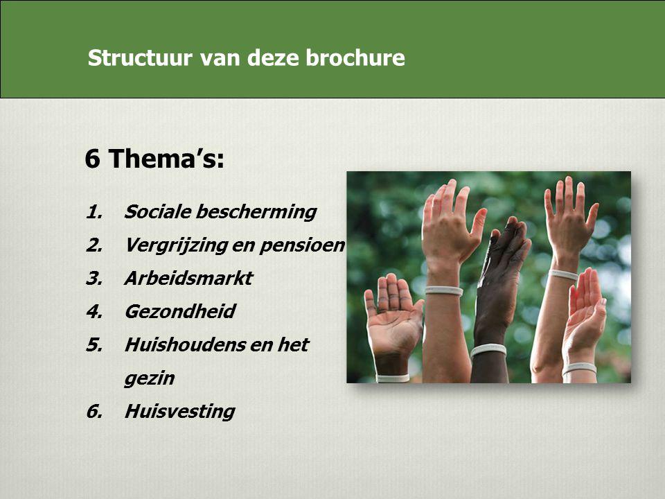 Achtergrond van de brochure 6 Themas: 1.Sociale bescherming 2.Vergrijzing en pensioen 3.Arbeidsmarkt 4.Gezondheid 5.Huishoudens en het gezin 6.Huisvesting Structuur van deze brochure