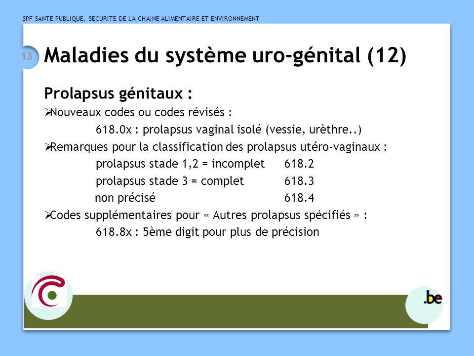 SPF SANTE PUBLIQUE, SECURITE DE LA CHAINE ALIMENTAIRE ET ENVIRONNEMENT 13 Maladies du système uro-génital (12) Prolapsus génitaux : Nouveaux codes ou
