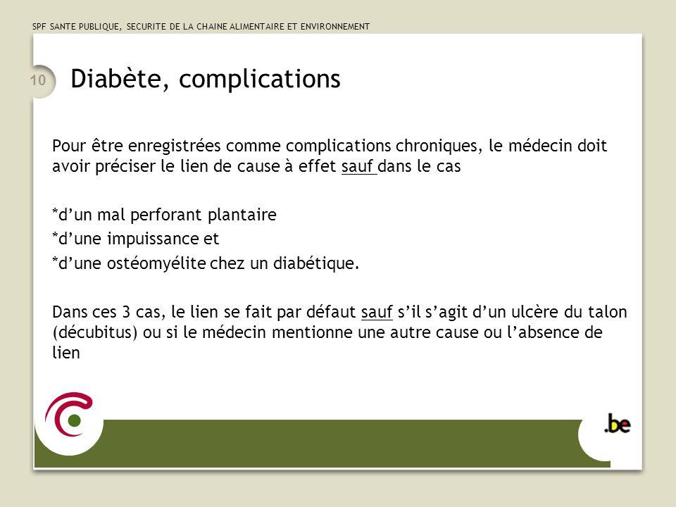 SPF SANTE PUBLIQUE, SECURITE DE LA CHAINE ALIMENTAIRE ET ENVIRONNEMENT 10 Diabète, complications Pour être enregistrées comme complications chroniques