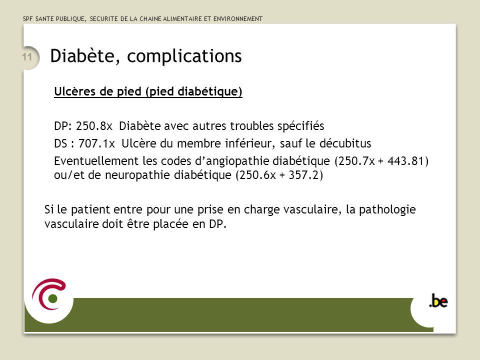 SPF SANTE PUBLIQUE, SECURITE DE LA CHAINE ALIMENTAIRE ET ENVIRONNEMENT 11 Diabète, complications Ulcères de pied (pied diabétique) DP: 250.8x Diabète
