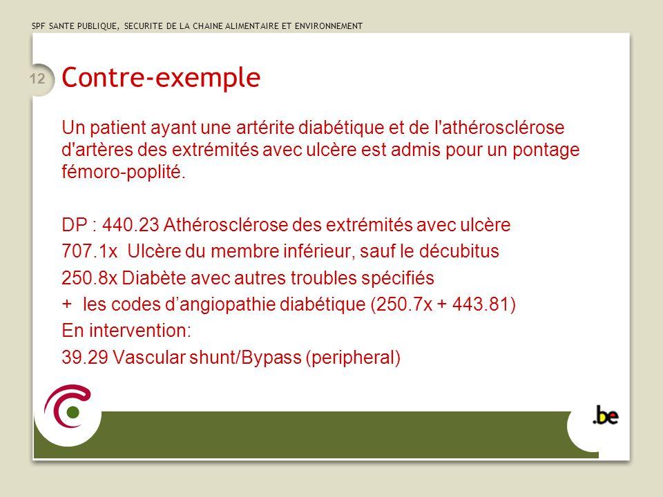 SPF SANTE PUBLIQUE, SECURITE DE LA CHAINE ALIMENTAIRE ET ENVIRONNEMENT 12 Contre-exemple Un patient ayant une artérite diabétique et de l'athéroscléro