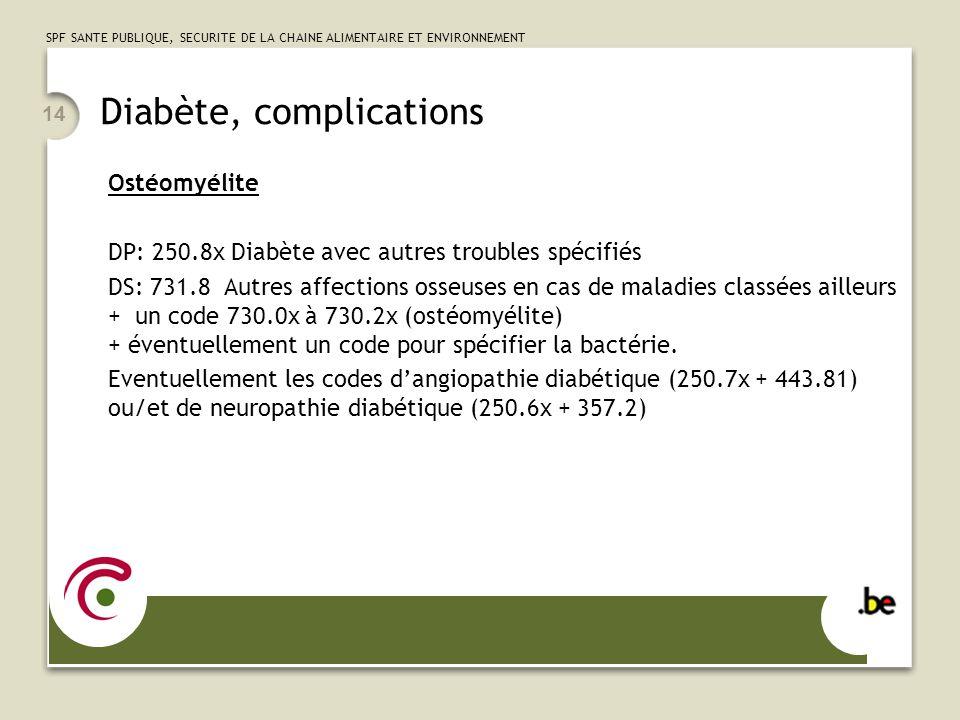 SPF SANTE PUBLIQUE, SECURITE DE LA CHAINE ALIMENTAIRE ET ENVIRONNEMENT 14 Diabète, complications Ostéomyélite DP: 250.8x Diabète avec autres troubles