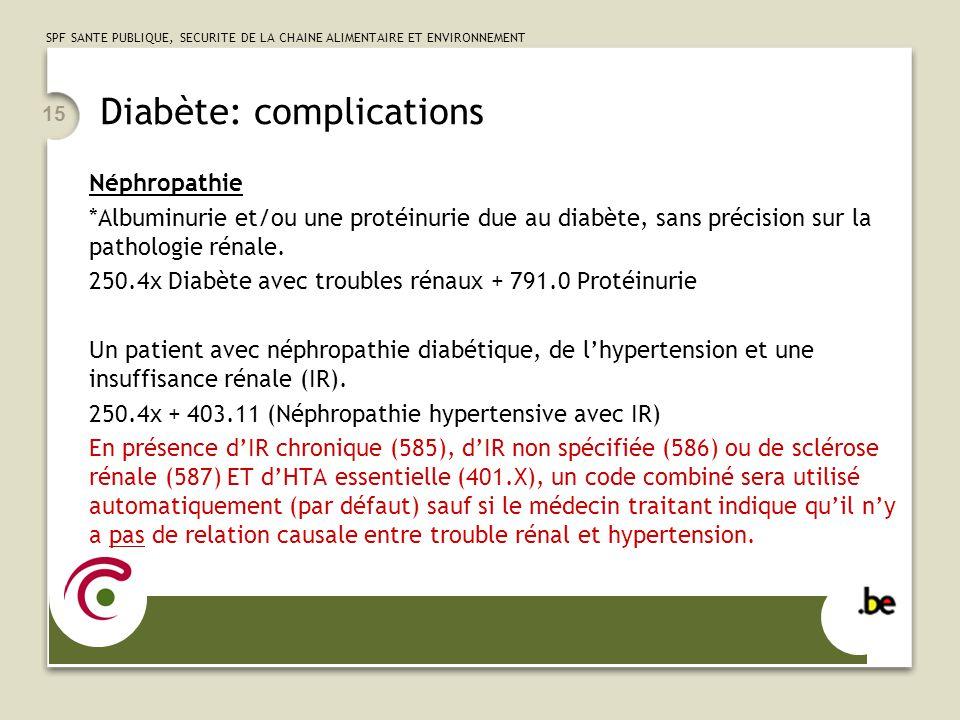 SPF SANTE PUBLIQUE, SECURITE DE LA CHAINE ALIMENTAIRE ET ENVIRONNEMENT 15 Diabète: complications Néphropathie *Albuminurie et/ou une protéinurie due a