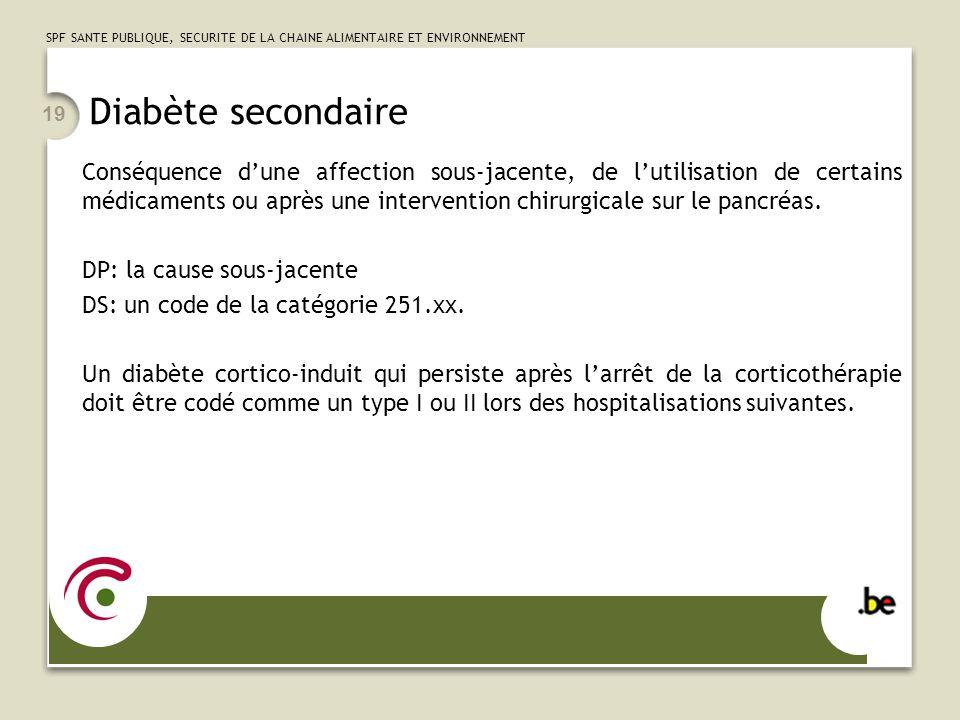 SPF SANTE PUBLIQUE, SECURITE DE LA CHAINE ALIMENTAIRE ET ENVIRONNEMENT 19 Diabète secondaire Conséquence dune affection sous-jacente, de lutilisation