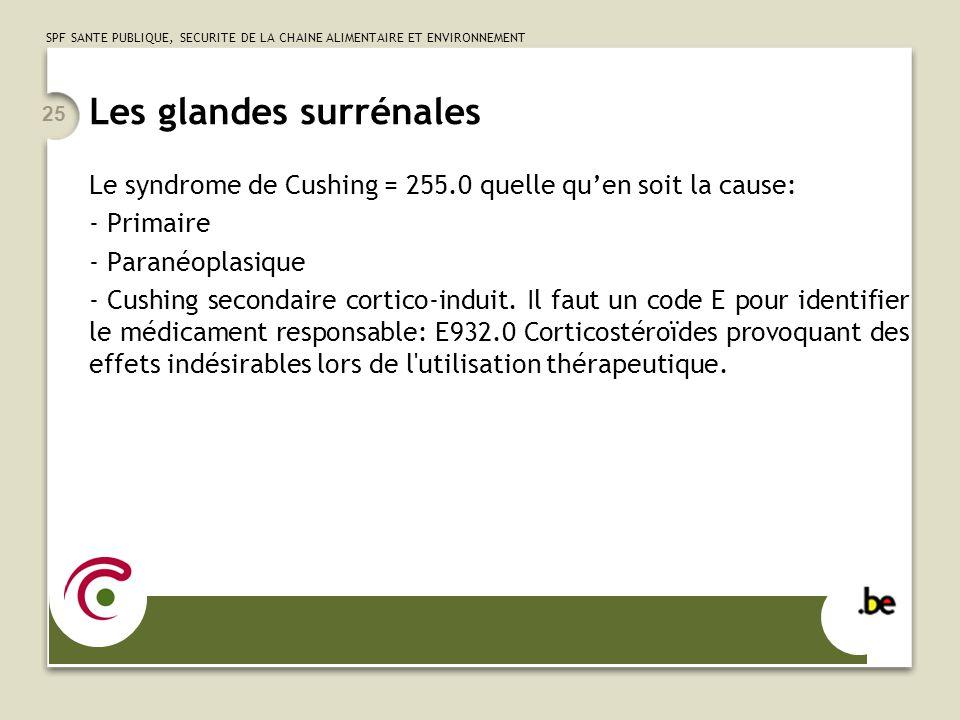 SPF SANTE PUBLIQUE, SECURITE DE LA CHAINE ALIMENTAIRE ET ENVIRONNEMENT 25 Les glandes surrénales Le syndrome de Cushing = 255.0 quelle quen soit la ca