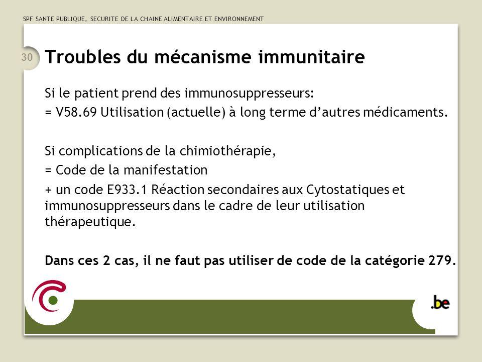 SPF SANTE PUBLIQUE, SECURITE DE LA CHAINE ALIMENTAIRE ET ENVIRONNEMENT 30 Troubles du mécanisme immunitaire Si le patient prend des immunosuppresseurs