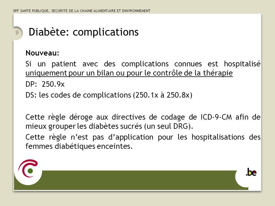 SPF SANTE PUBLIQUE, SECURITE DE LA CHAINE ALIMENTAIRE ET ENVIRONNEMENT 9 Diabète: complications Nouveau: Si un patient avec des complications connues