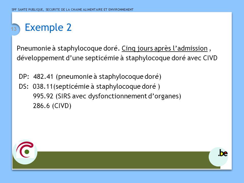 SPF SANTE PUBLIQUE, SECURITE DE LA CHAINE ALIMENTAIRE ET ENVIRONNEMENT 13 Exemple 2 Pneumonie à staphylocoque doré.