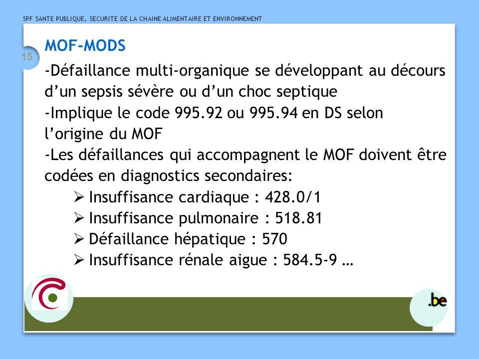 SPF SANTE PUBLIQUE, SECURITE DE LA CHAINE ALIMENTAIRE ET ENVIRONNEMENT 15 MOF-MODS -Défaillance multi-organique se développant au décours dun sepsis sévère ou dun choc septique -Implique le code 995.92 ou 995.94 en DS selon lorigine du MOF -Les défaillances qui accompagnent le MOF doivent être codées en diagnostics secondaires: Insuffisance cardiaque : 428.0/1 Insuffisance pulmonaire : 518.81 Défaillance hépatique : 570 Insuffisance rénale aigue : 584.5-9 …