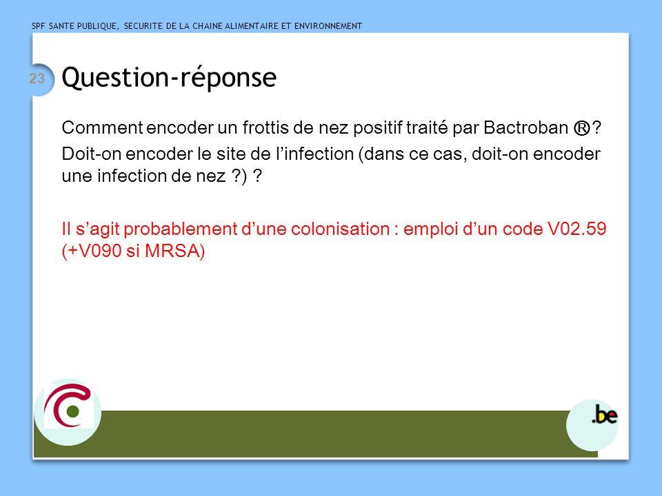 SPF SANTE PUBLIQUE, SECURITE DE LA CHAINE ALIMENTAIRE ET ENVIRONNEMENT 23 Question-réponse Comment encoder un frottis de nez positif traité par Bactroban .