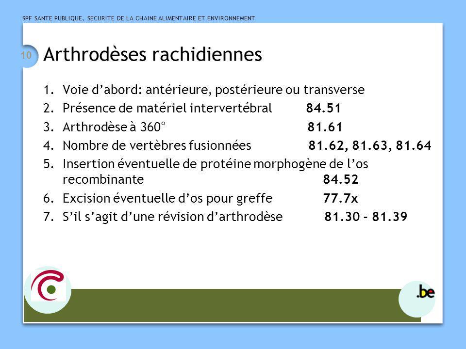 SPF SANTE PUBLIQUE, SECURITE DE LA CHAINE ALIMENTAIRE ET ENVIRONNEMENT 11 Arthrodèses rachidiennes 8.
