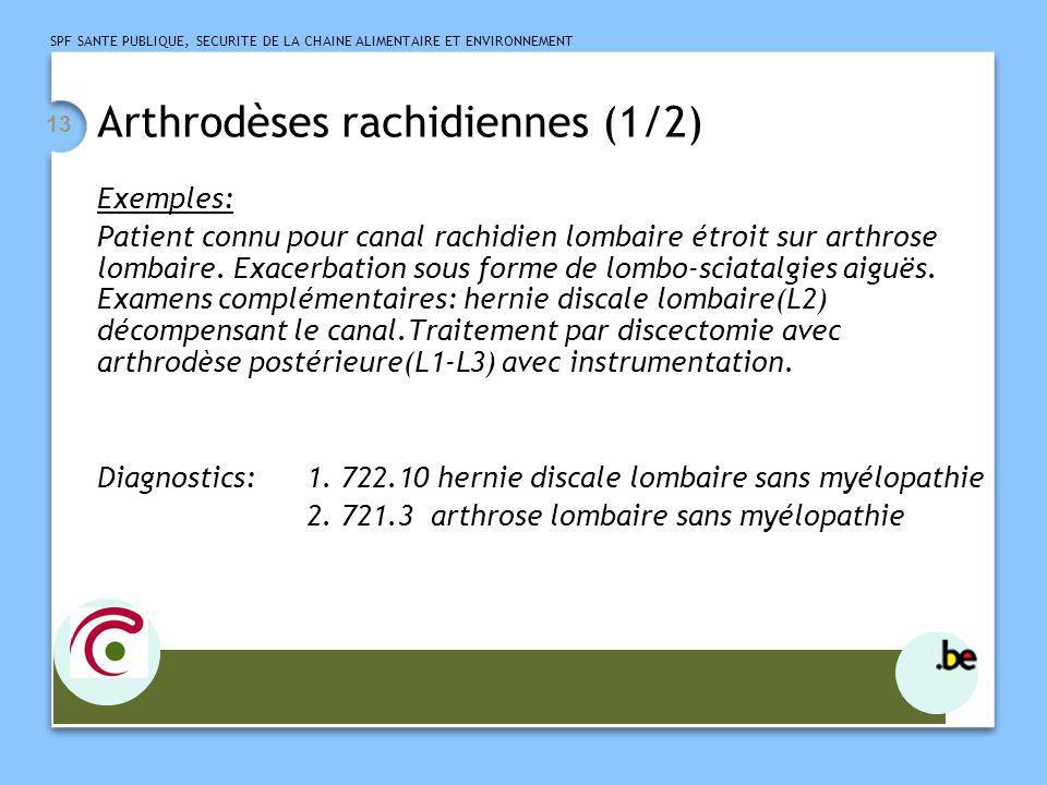 SPF SANTE PUBLIQUE, SECURITE DE LA CHAINE ALIMENTAIRE ET ENVIRONNEMENT 13 Arthrodèses rachidiennes (1/2) Exemples: Patient connu pour canal rachidien