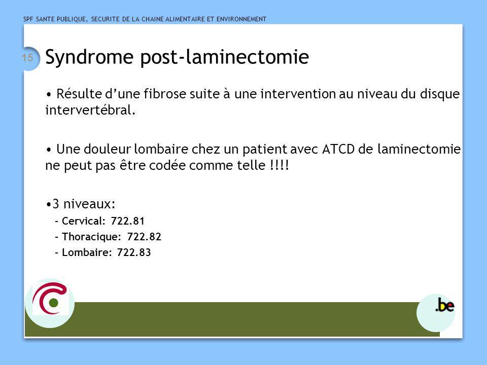 SPF SANTE PUBLIQUE, SECURITE DE LA CHAINE ALIMENTAIRE ET ENVIRONNEMENT 15 Syndrome post-laminectomie Résulte dune fibrose suite à une intervention au
