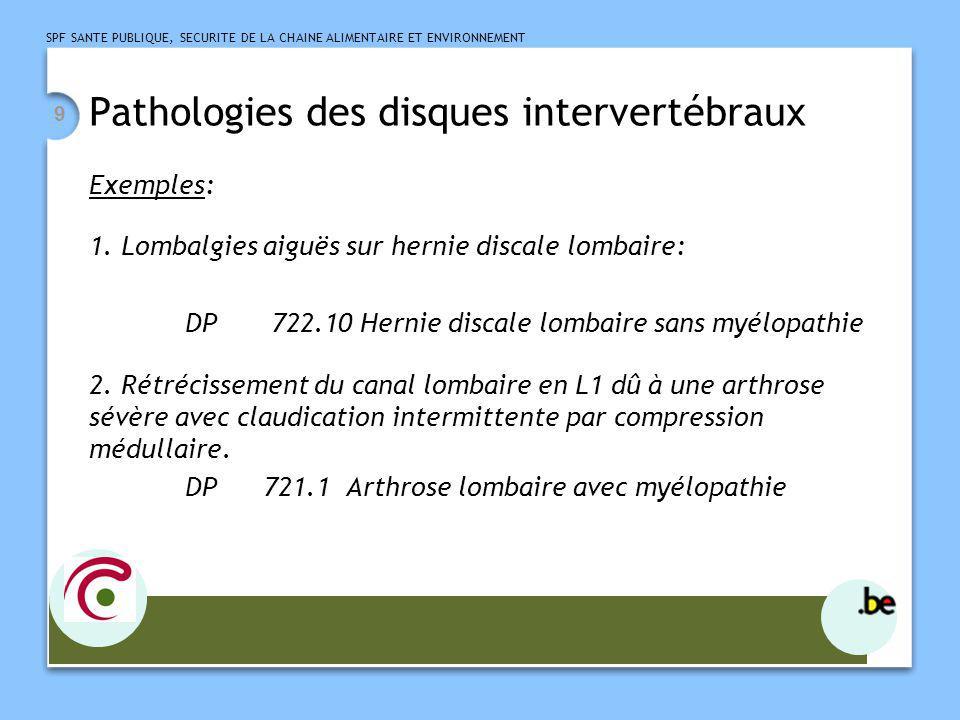 SPF SANTE PUBLIQUE, SECURITE DE LA CHAINE ALIMENTAIRE ET ENVIRONNEMENT 9 Pathologies des disques intervertébraux Exemples: 1. Lombalgies aiguës sur he
