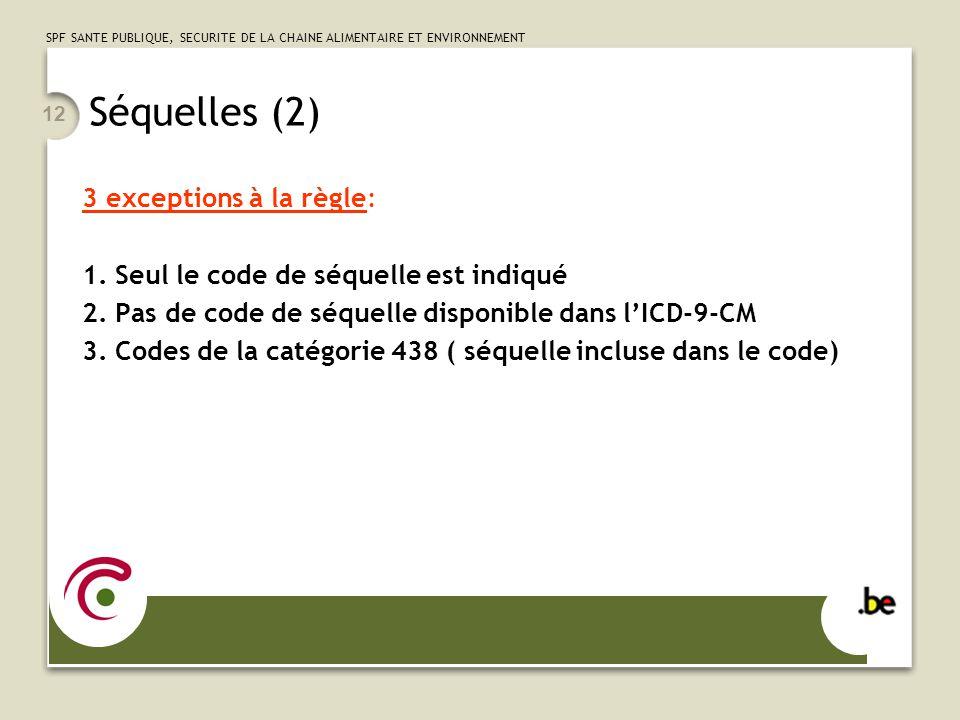 SPF SANTE PUBLIQUE, SECURITE DE LA CHAINE ALIMENTAIRE ET ENVIRONNEMENT 12 Séquelles (2) 3 exceptions à la règle: 1.
