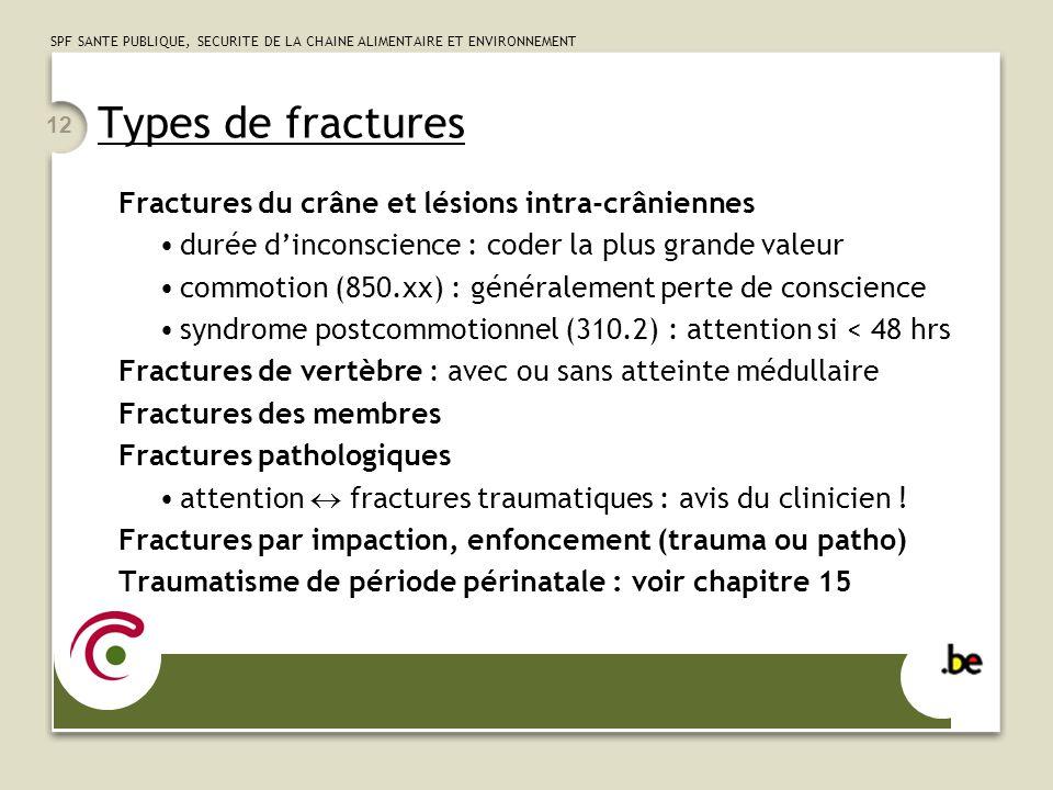 SPF SANTE PUBLIQUE, SECURITE DE LA CHAINE ALIMENTAIRE ET ENVIRONNEMENT 12 Types de fractures Fractures du crâne et lésions intra-crâniennes durée dinc