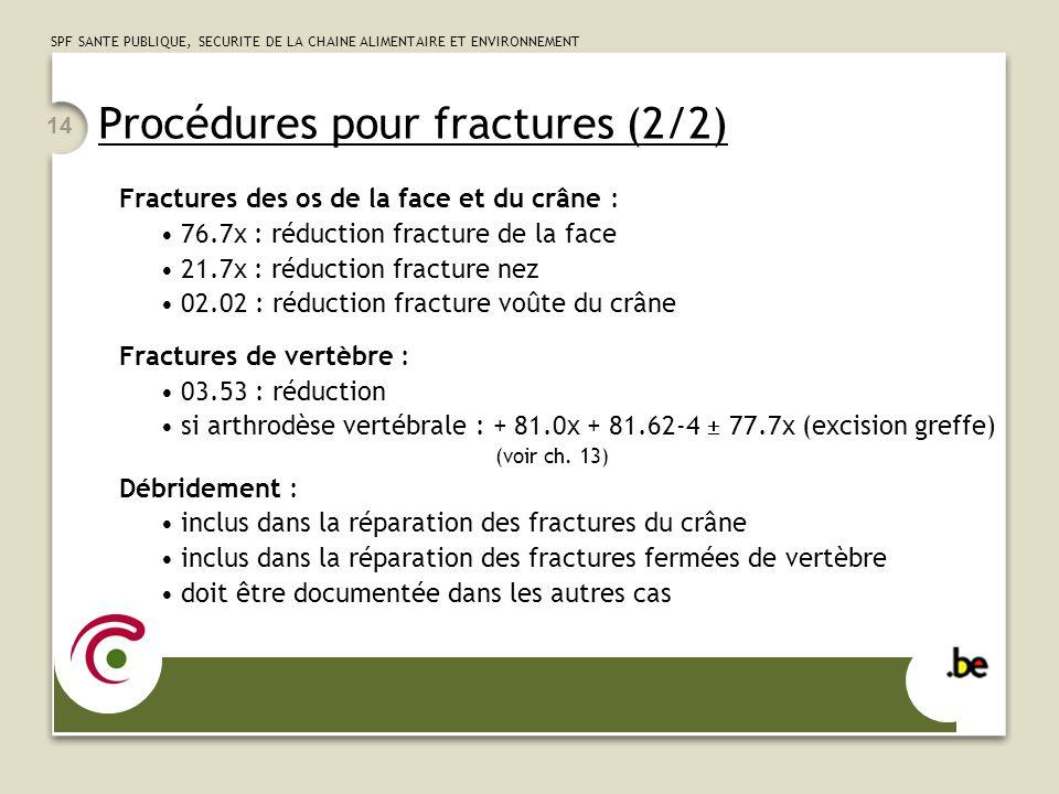 SPF SANTE PUBLIQUE, SECURITE DE LA CHAINE ALIMENTAIRE ET ENVIRONNEMENT 14 Procédures pour fractures (2/2) Fractures des os de la face et du crâne : 76