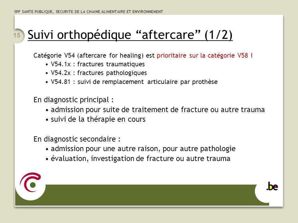 SPF SANTE PUBLIQUE, SECURITE DE LA CHAINE ALIMENTAIRE ET ENVIRONNEMENT 15 Suivi orthopédique aftercare (1/2) Catégorie V54 (aftercare for healing) est