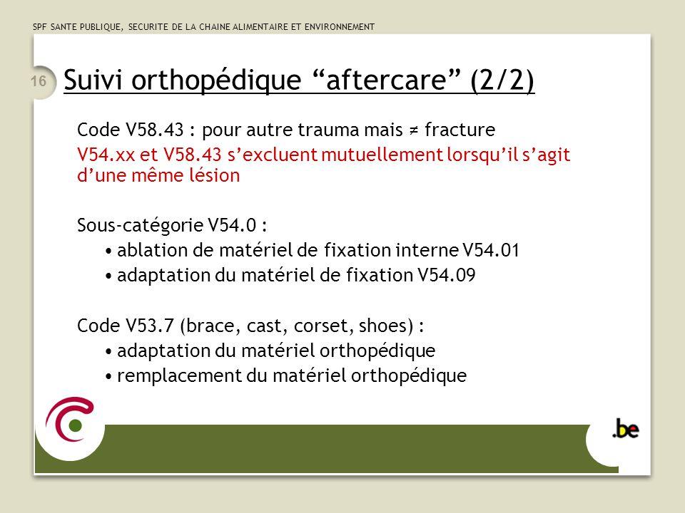 SPF SANTE PUBLIQUE, SECURITE DE LA CHAINE ALIMENTAIRE ET ENVIRONNEMENT 16 Suivi orthopédique aftercare (2/2) Code V58.43 : pour autre trauma mais frac